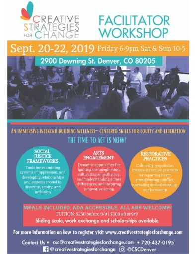 Creative Strategies for Change flyer for September 2019 Facilitator Workshop